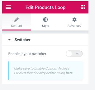 edit product loop
