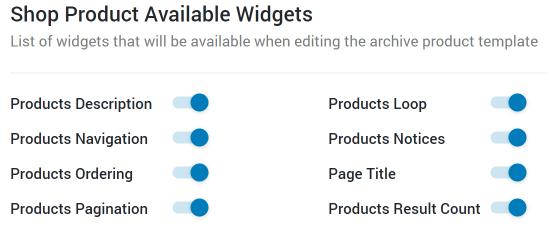 activate shop widgets
